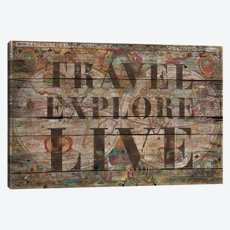 Travel Explore Live (Old Map) 3-Piece Canvas #MXS177} by Diego Tirigall Canvas Wall Art