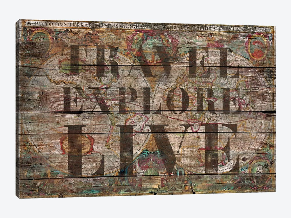 Travel Explore Live (Old Map) by Diego Tirigall 1-piece Canvas Artwork