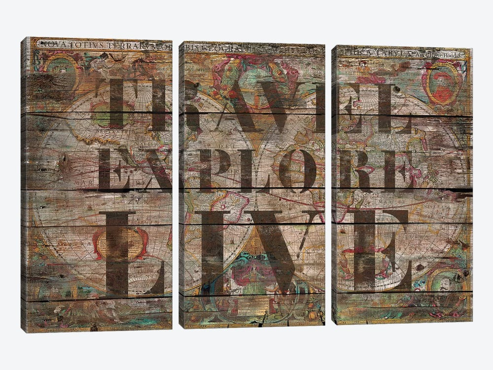 Travel Explore Live (Old Map) by Diego Tirigall 3-piece Canvas Artwork