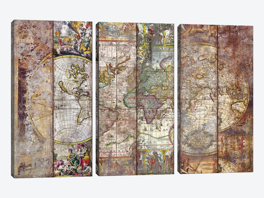 Old Times (World Map) I by Diego Tirigall 3-piece Canvas Art Print