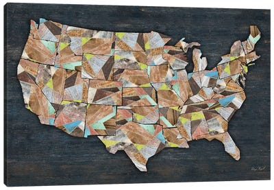 USA Geometry States Map Canvas Art Print