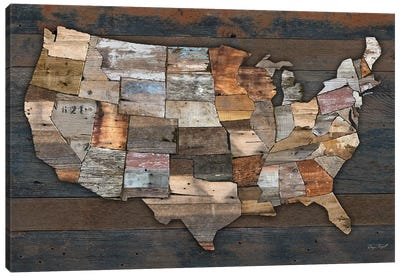USA States Map II Canvas Art Print