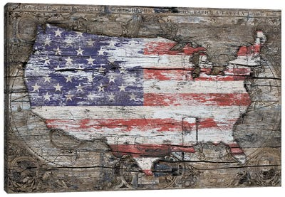 USA Map I Carry Your Heart With Me Canvas Art Print