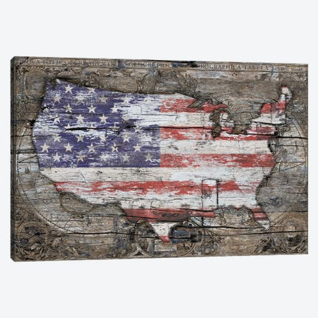USA Map I Carry Your Heart With Me Canvas Print #MXS223} by Diego Tirigall Canvas Art Print