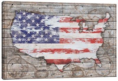 USA Map Old America Canvas Art Print