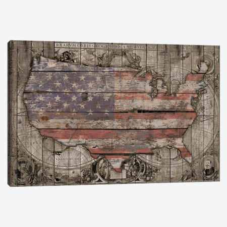 USA Map Old Times Canvas Print #MXS227} by Diego Tirigall Canvas Artwork