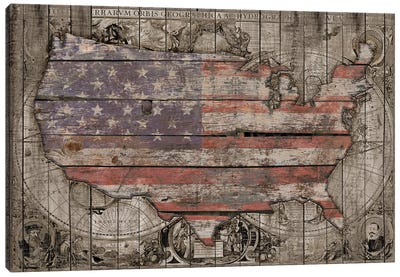 USA Map Old Times Canvas Art Print