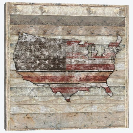 USA Map Fight - Square Canvas Print #MXS238} by Diego Tirigall Canvas Art