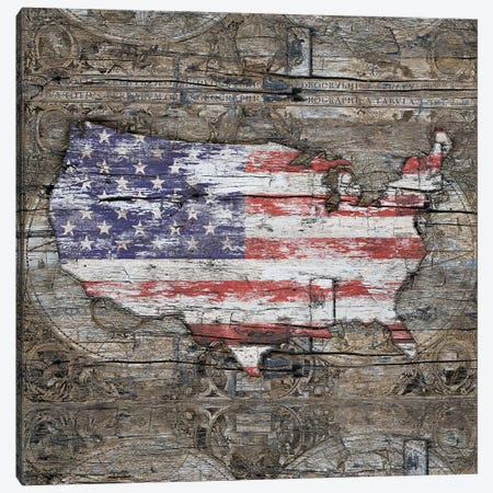 USA Map I Carry Your Heart With Me - Square Canvas Print #MXS262} by Diego Tirigall Canvas Print