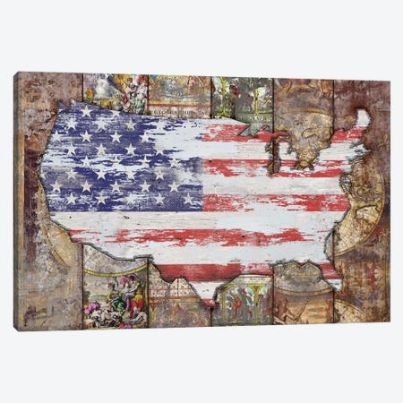 USA Map Flag Canvas Print #MXS265} by Diego Tirigall Canvas Wall Art