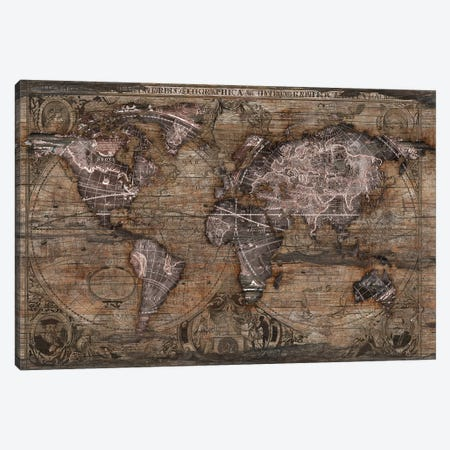Vintage Art World Map 3-Piece Canvas #MXS266} by Diego Tirigall Canvas Art