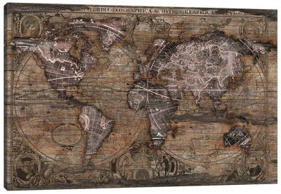 Vintage Art World Map Canvas Art Print