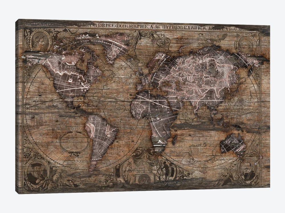 Vintage Art World Map by Diego Tirigall 1-piece Canvas Art