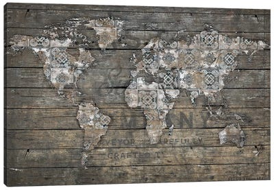 World Map Rustic Pattern Canvas Art Print