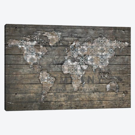 World Map Rustic Pattern 3-Piece Canvas #MXS268} by Diego Tirigall Canvas Art Print
