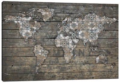 World Map Rustic Pattern Canvas Art Print