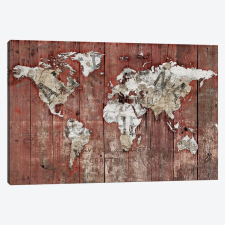Red World Map 3-Piece Canvas #MXS269} by Diego Tirigall Canvas Art Print