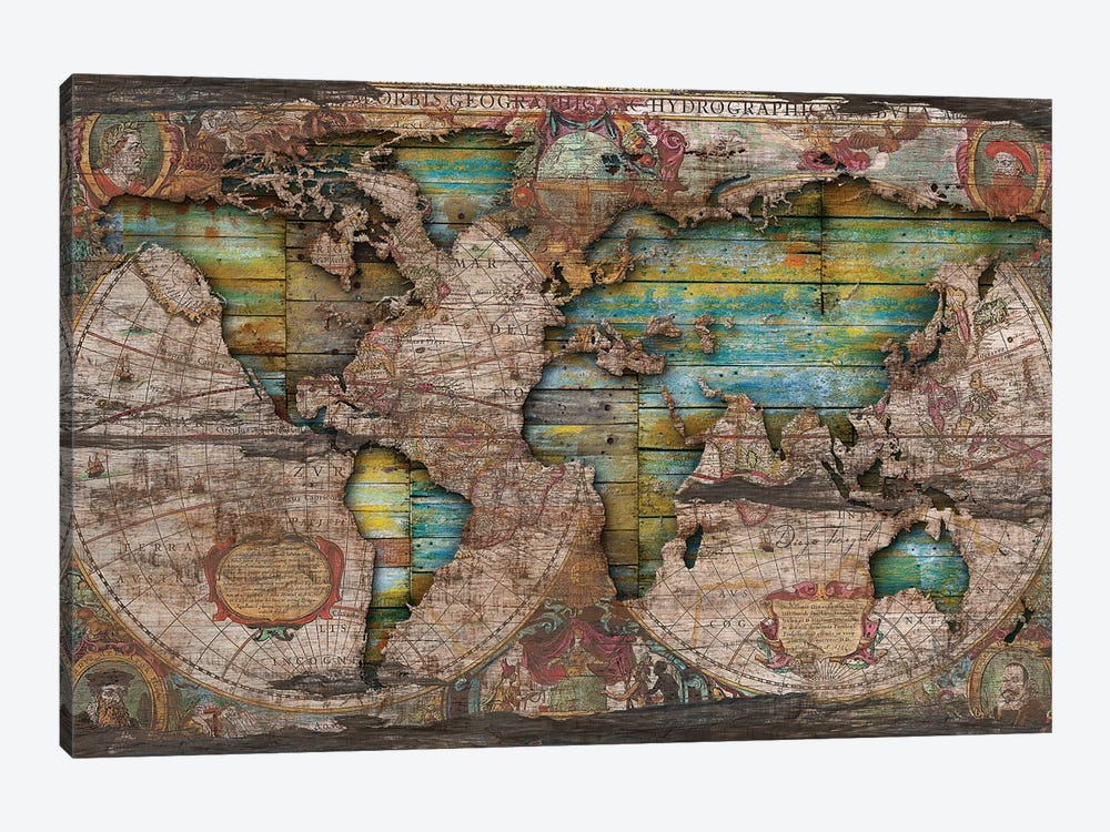 Shabby Chic Old Map In The Clouds by Diego Tirigall 1-piece Canvas Artwork