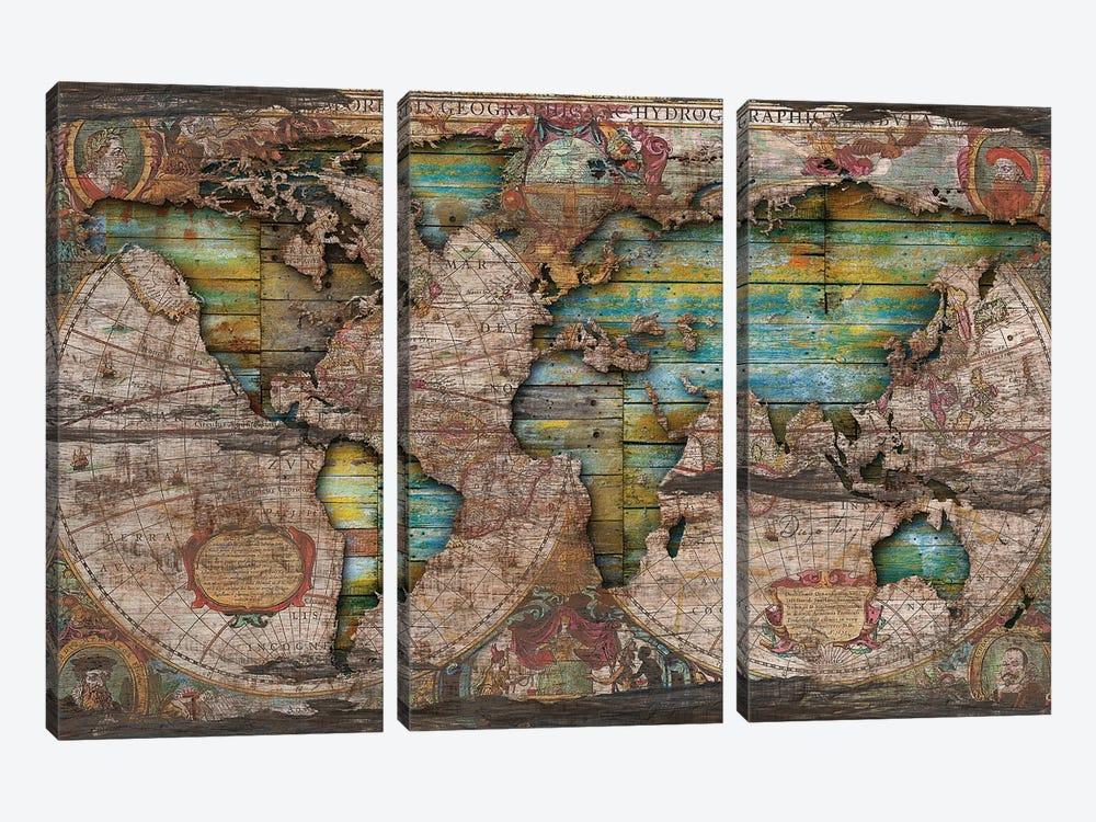 Shabby Chic Old Map In The Clouds by Diego Tirigall 3-piece Canvas Artwork