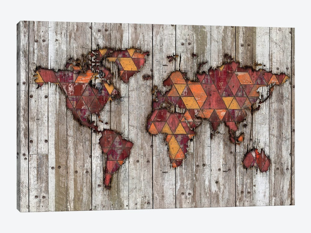 Abstract Natural Skin World Map by Diego Tirigall 1-piece Canvas Art