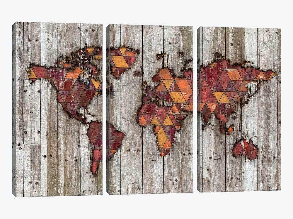 Abstract Natural Skin World Map by Diego Tirigall 3-piece Canvas Artwork