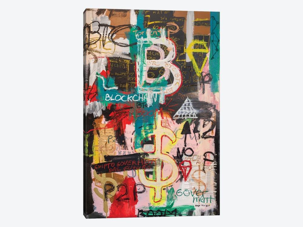 Bitcoin And Blockchain Boom by Diego Tirigall 1-piece Canvas Art Print