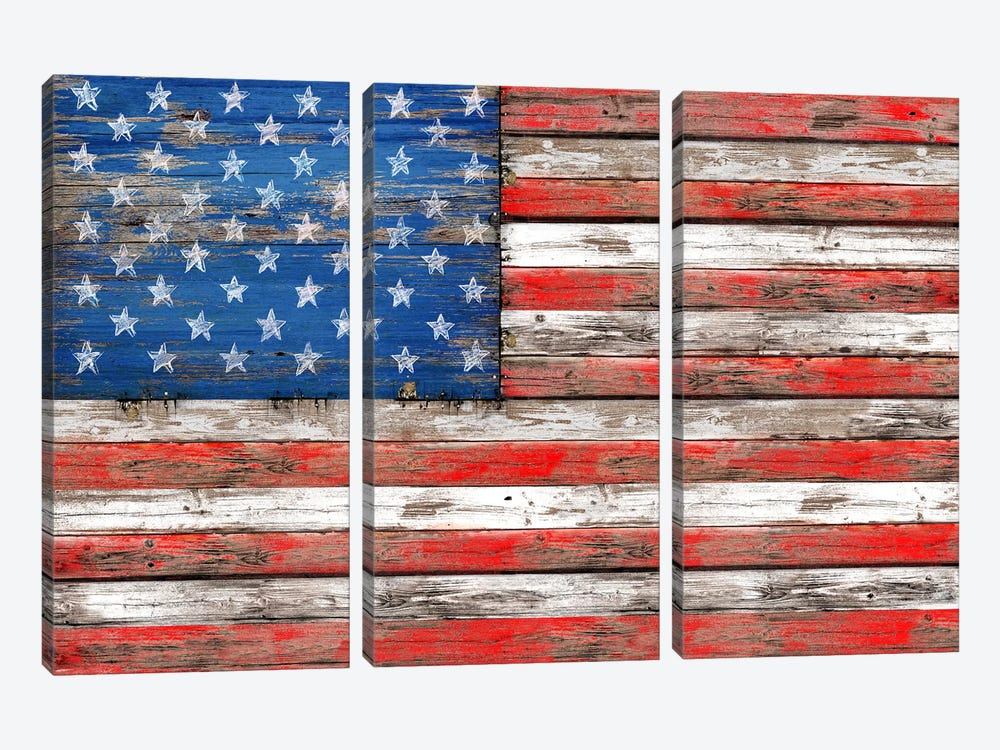 USA Vintage Wood by Diego Tirigall 3-piece Canvas Wall Art