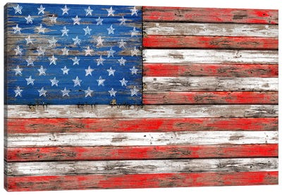 USA Vintage Wood Canvas Art Print