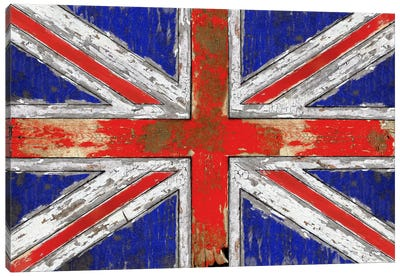 UK Vintage Wood Canvas Art Print