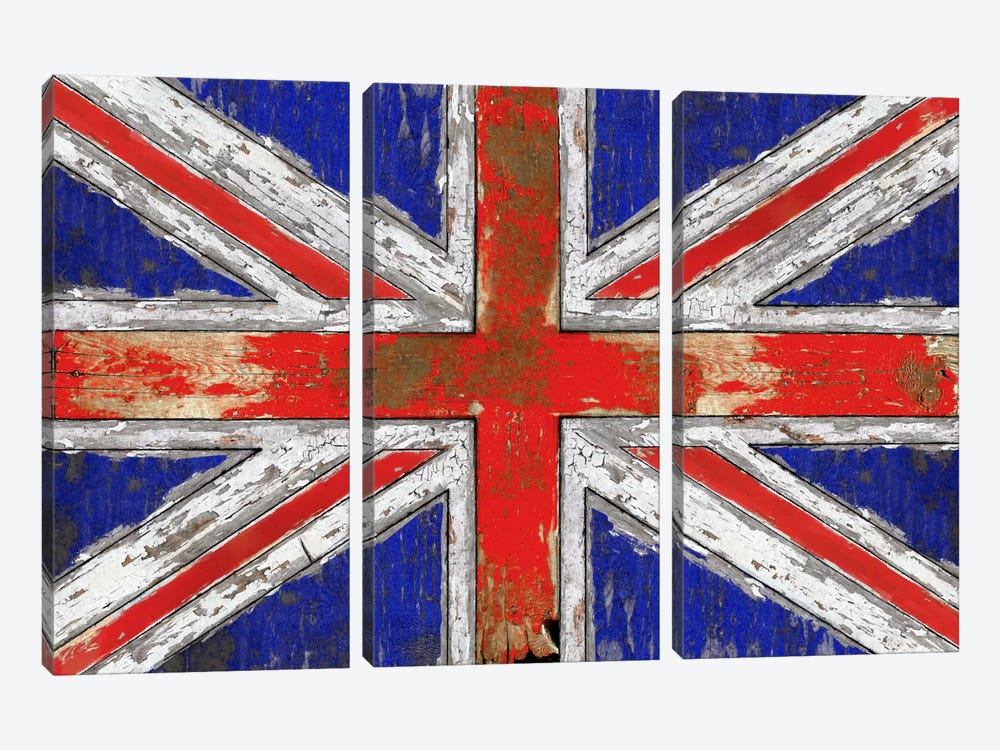 UK Vintage Wood 3-piece Canvas Print