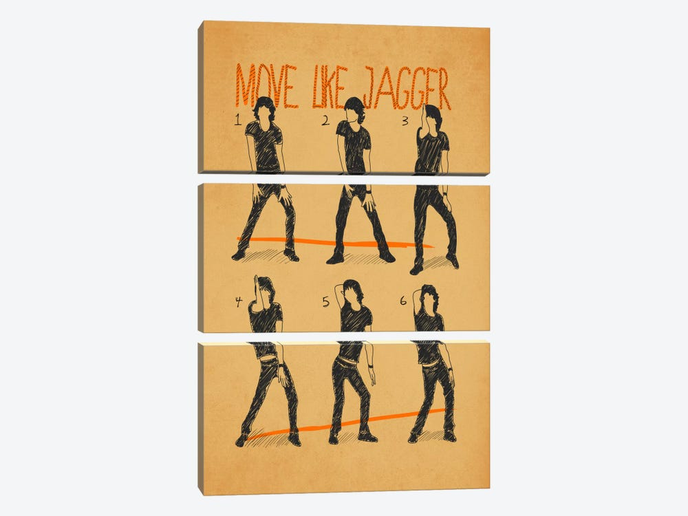 Move Like Jagger White by Diego Tirigall 3-piece Canvas Artwork