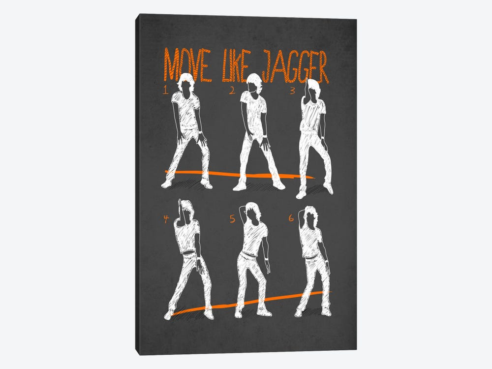 Move Like Jagger Black by Diego Tirigall 1-piece Canvas Art Print