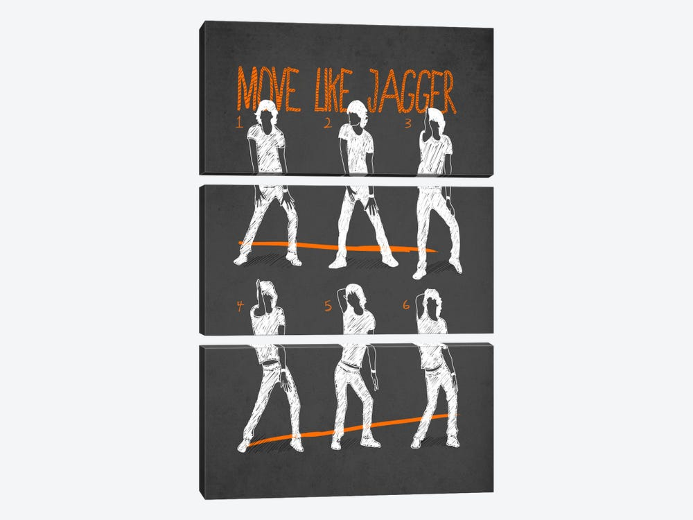 Move Like Jagger Black by Diego Tirigall 3-piece Canvas Print