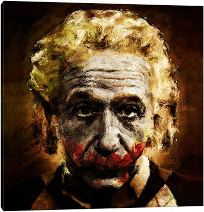 Einstein The Joker (Relatively Funny) Canvas Art Print