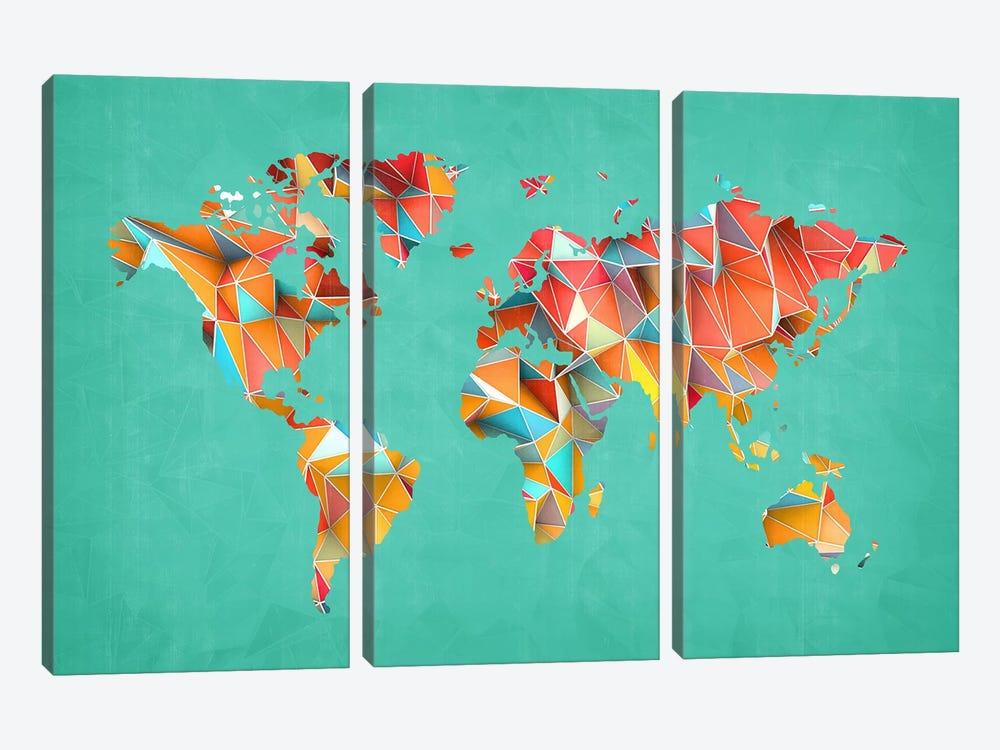 Geometric Map #3 by Diego Tirigall 3-piece Canvas Artwork
