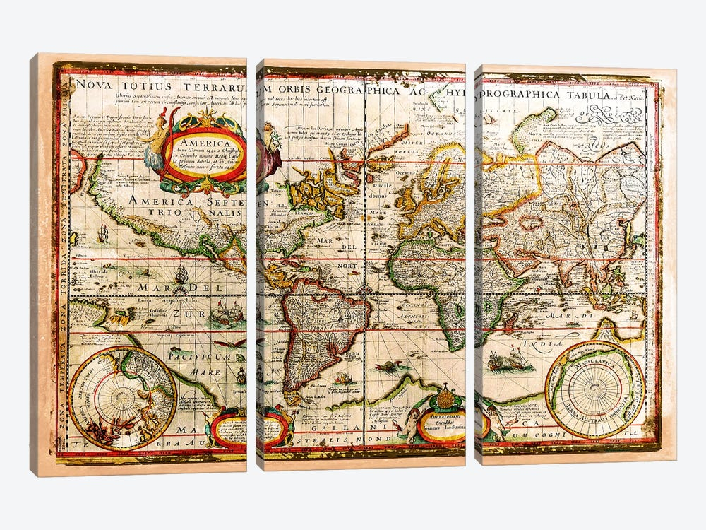 Vintage Map by Diego Tirigall 3-piece Canvas Wall Art