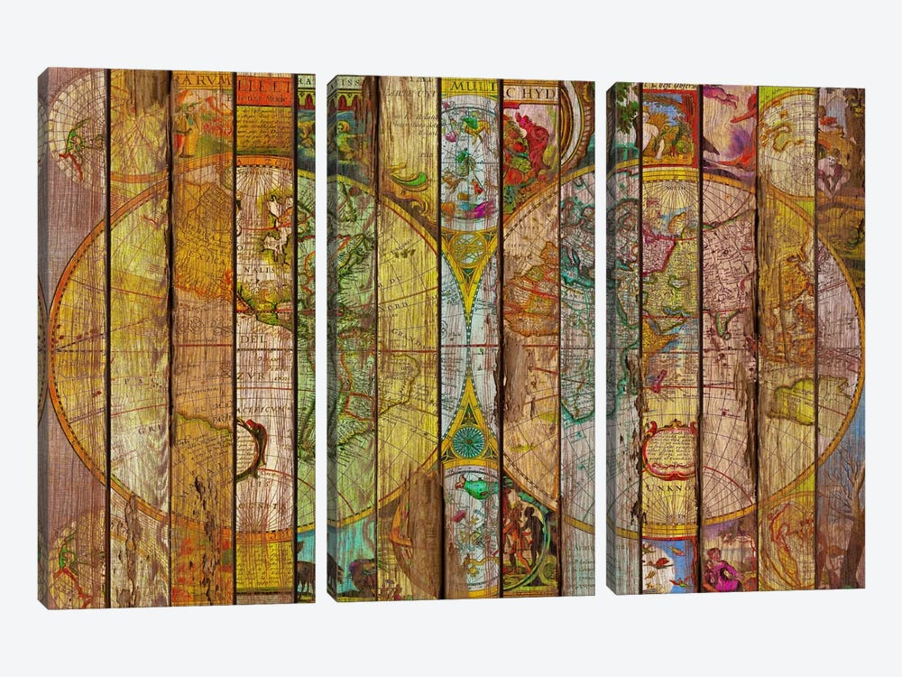 Around the World in Thirteen Maps 3-piece Canvas Art Print