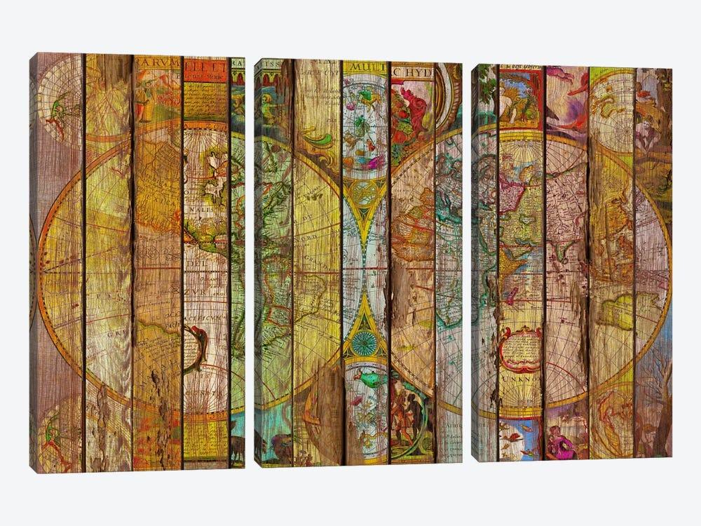 Around the World in Thirteen Maps by Diego Tirigall 3-piece Canvas Art Print