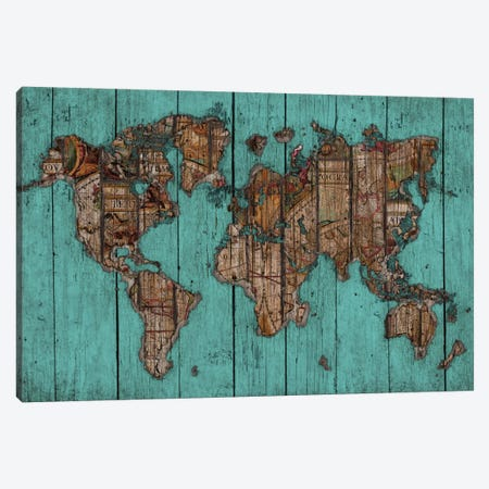 Wood Map #2 Canvas Print #MXS93} by Diego Tirigall Canvas Art
