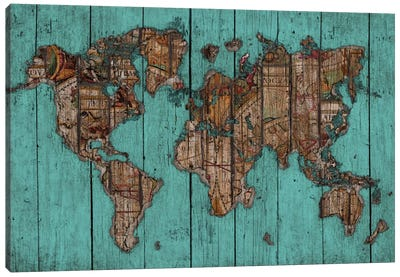 Wood Map #2 by Diego Tirigall Canvas Art