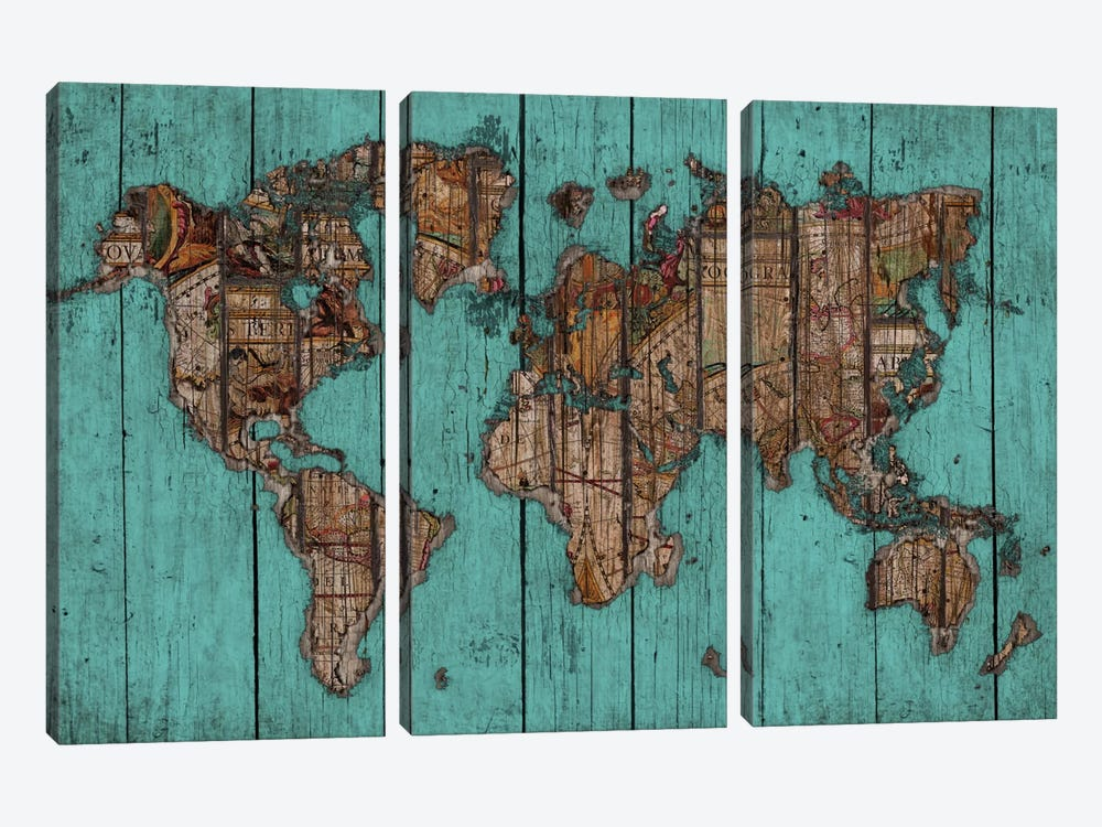 Wood Map #2 by Diego Tirigall 3-piece Canvas Art Print