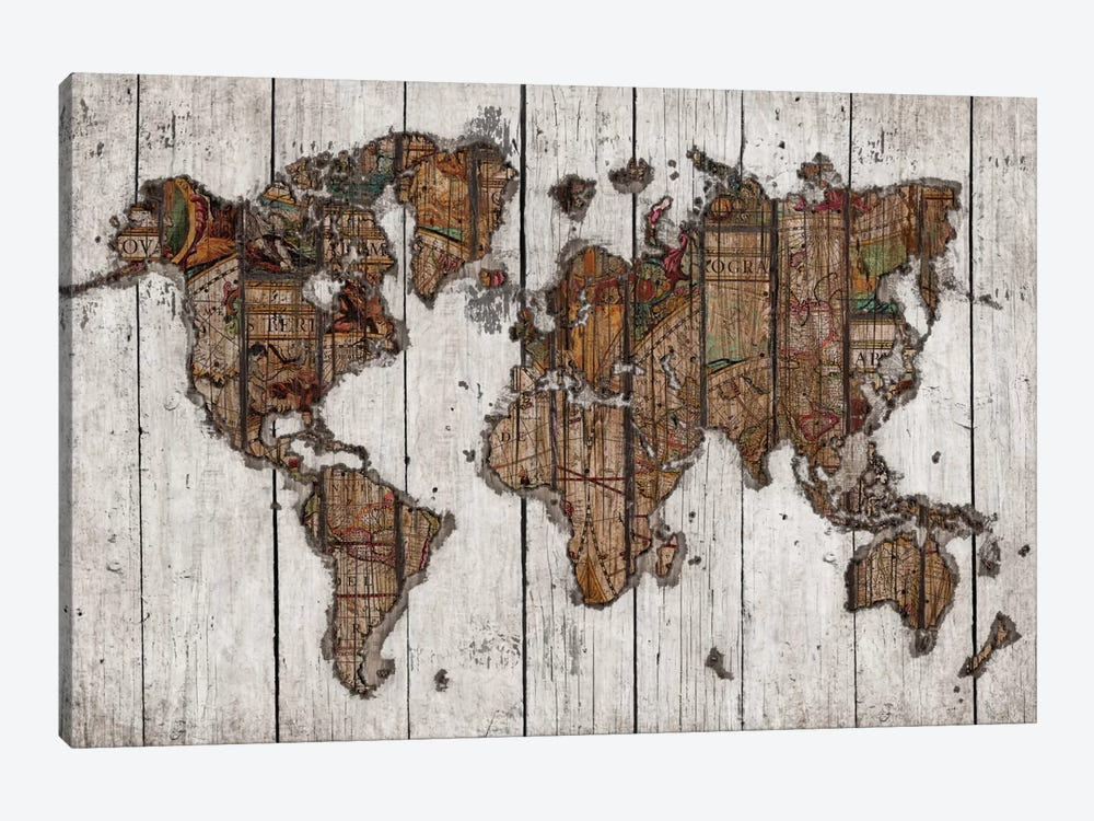 Wood Map by Diego Tirigall 1-piece Canvas Art