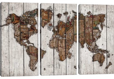 Wood Map by Diego Tirigall Art Print