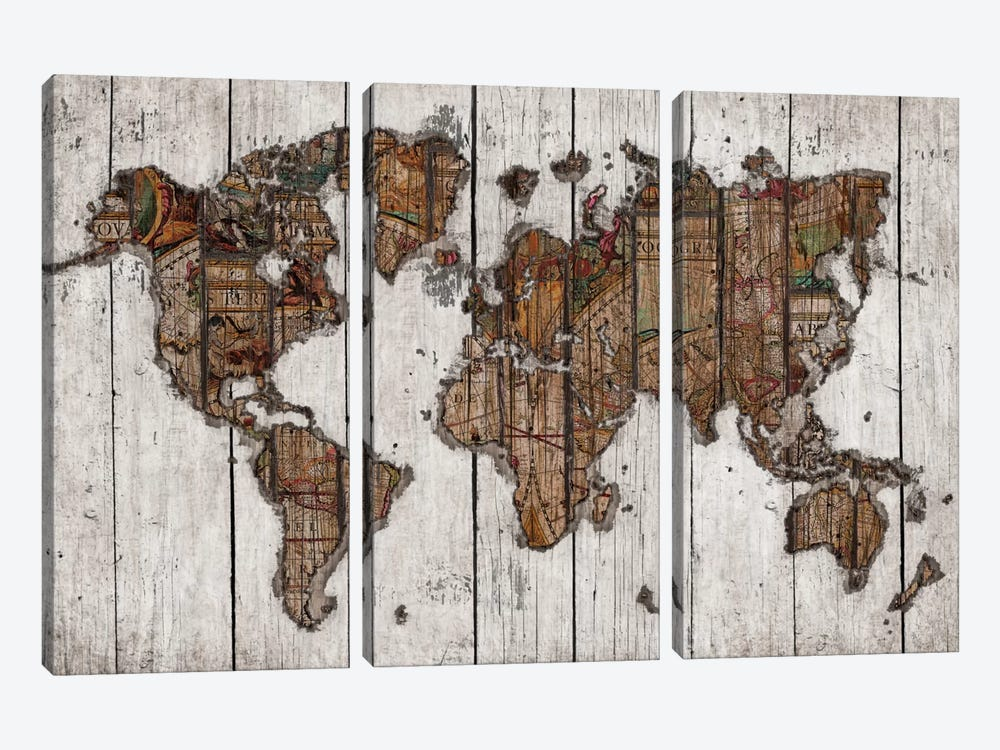 Wood Map by Diego Tirigall 3-piece Canvas Art