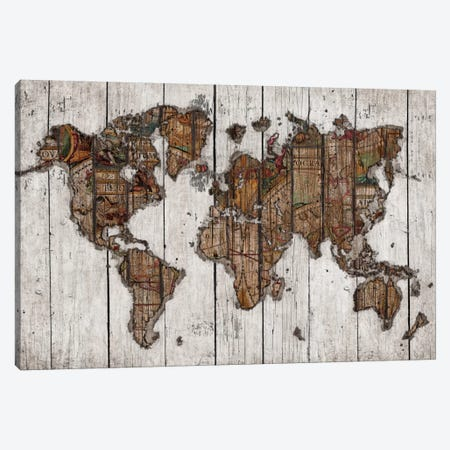 Wood Map Canvas Print #MXS94} by Diego Tirigall Art Print