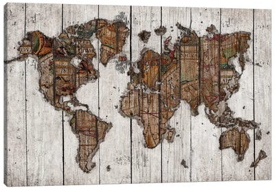 Wood Map Canvas Art Print