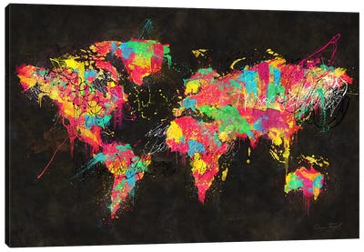 Psychedelic Continents Canvas Art Print