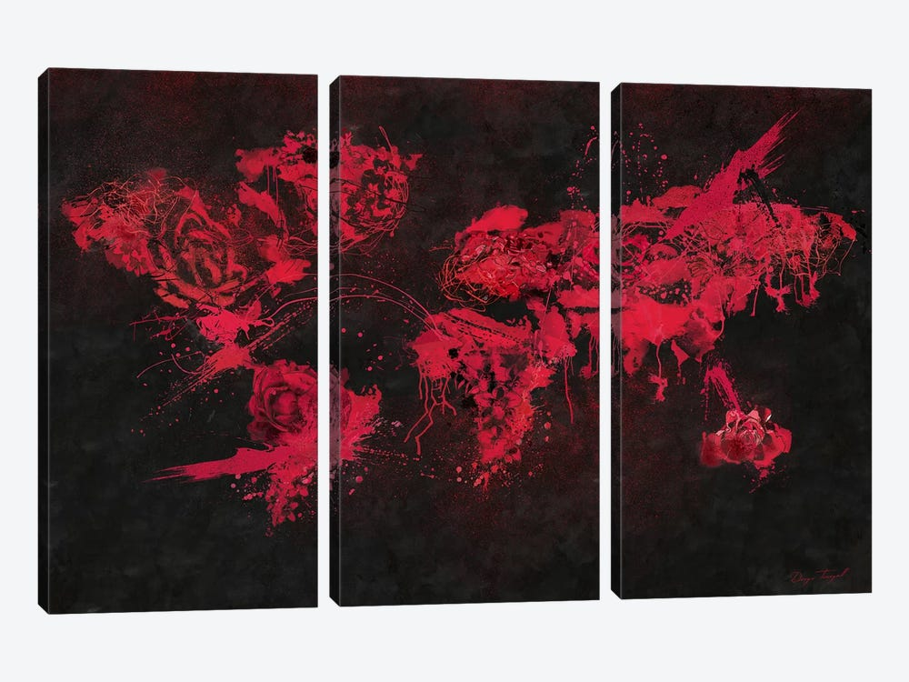Velvet Flowers by Diego Tirigall 3-piece Canvas Print