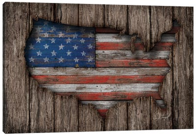 American Wood Flag Canvas Art Print