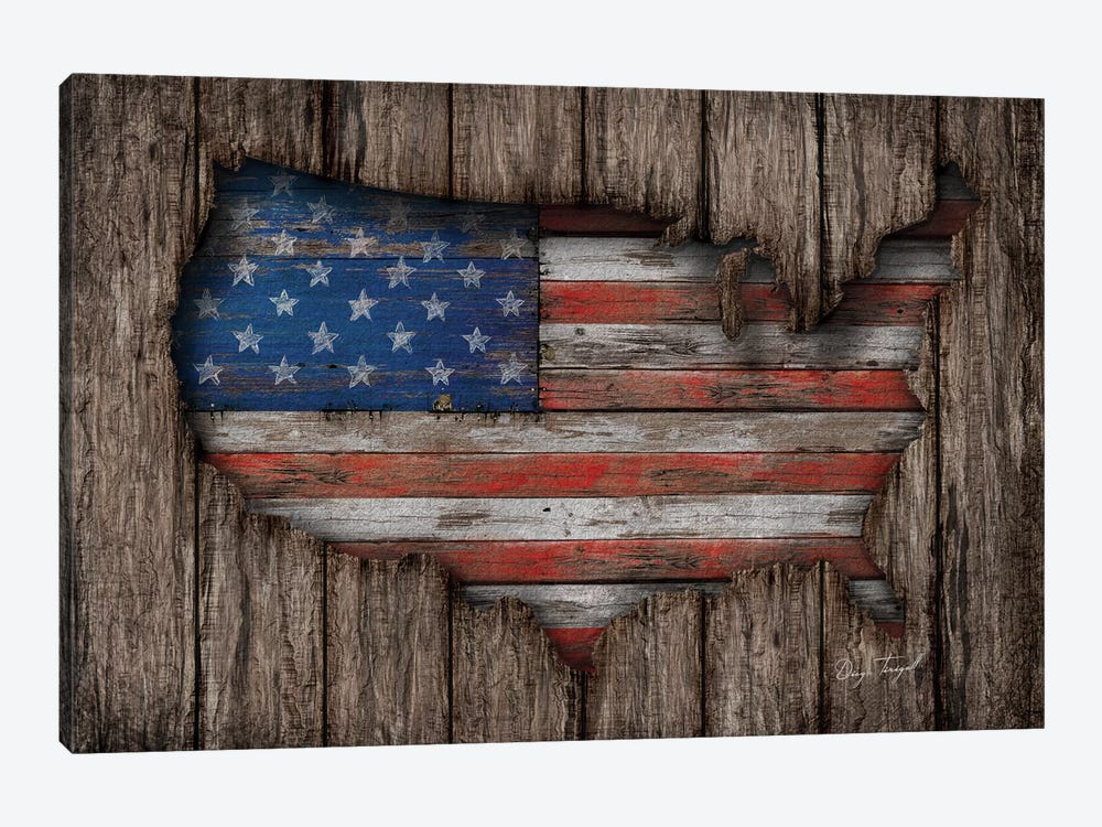American Wood Flag by Diego Tirigall 1-piece Art Print